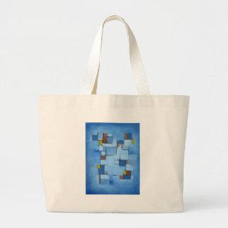 Línea abstracta azul 2 de la serie bolsa tela grande