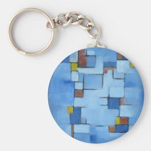 Línea abstracta azul 2 de la serie llavero personalizado