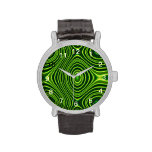 Línea abstracta verde modelo relojes de pulsera