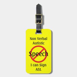 Línea alerta médica autístico no verbal etiquetas para maletas