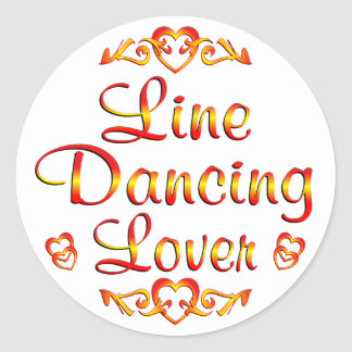 Línea amante del baile etiqueta redonda