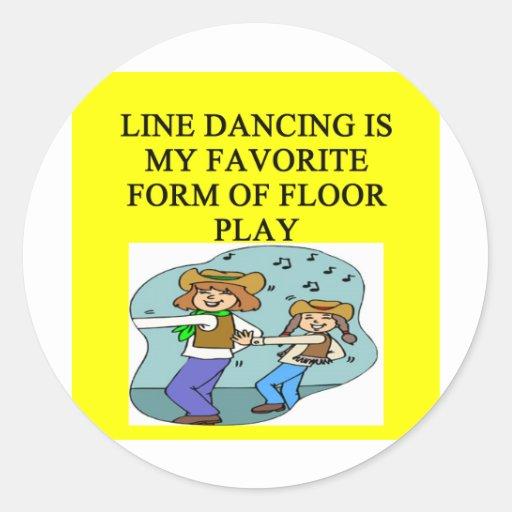 línea amantes del baile pegatina redonda