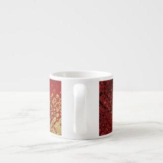 Línea amarilla y roja diseño de la caja taza de espresso
