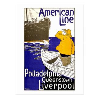 Línea americana diseño del poster del viaje tarjetas postales