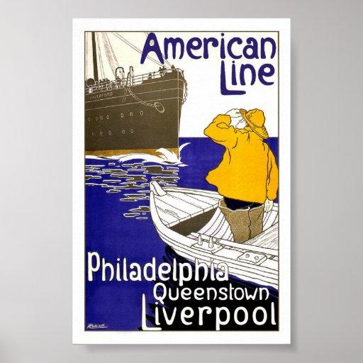 LÍNEA AMERICANA - poster del viaje del vintage Póster