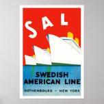 Línea americana sueca del ~ de la SAL Poster