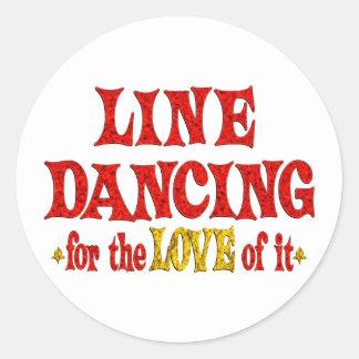 Línea amor del baile pegatinas redondas