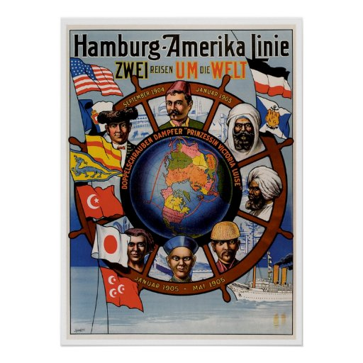 Línea anuncio de Hamburgo Amerika de la nave del v Impresiones