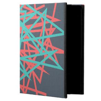 Línea arte abstracta roja y azul en la caja del