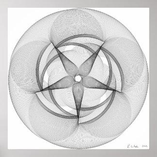 Línea arte con swirly cinco póster