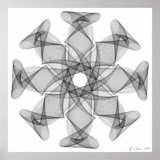 Línea arte con una simetría ocho póster