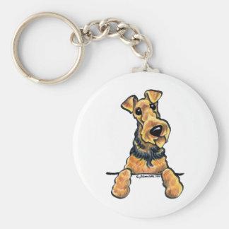 Línea arte de Airedale Terrier Llavero Redondo Tipo Pin