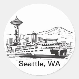 Línea arte de estado de Washington del Pegatina Redonda