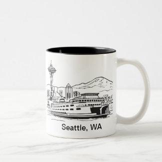 Línea arte de estado de Washington del Taza De Café De Dos Colores