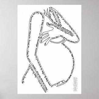 Línea arte de las afirmaciones del nacimiento póster