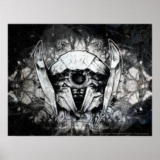 Línea arte del Headshot de la onda de choque Póster