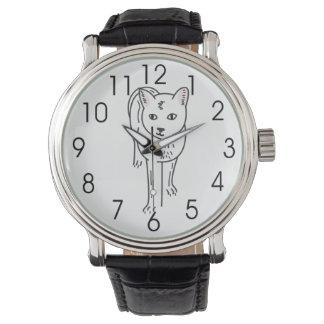Línea arte, ejemplo de gato de Digitaces Relojes De Mano