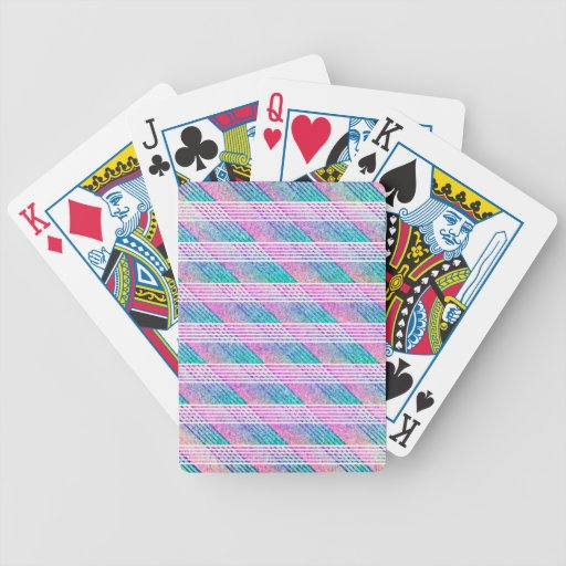 Línea arte en rosa y trullo barajas de cartas