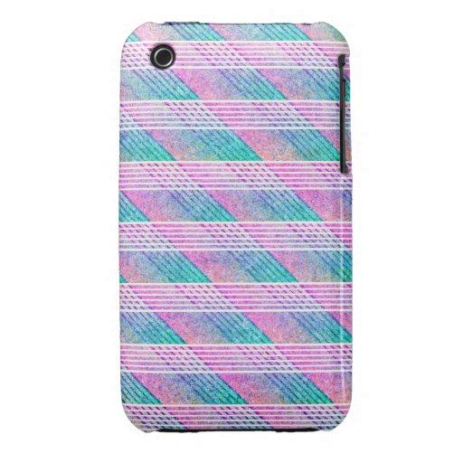 Línea arte en rosa y trullo Case-Mate iPhone 3 fundas