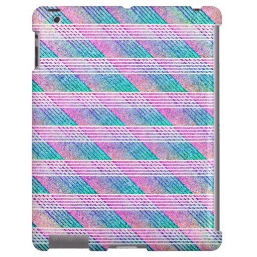 Línea arte en rosa y trullo funda para iPad