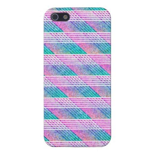 Línea arte en rosa y trullo iPhone 5 fundas