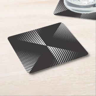 Línea arte llamativa blanco y negro posavasos desechable cuadrado