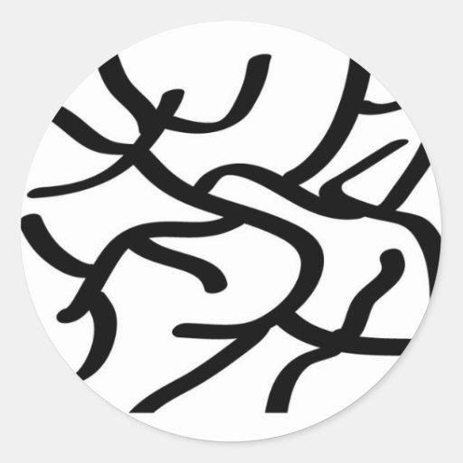 Línea arte moderna pegatina redonda