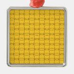 Línea arte - TAZAS - negro en amarillo Adorno De Navidad