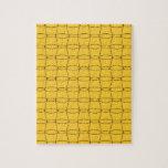 Línea arte - TAZAS - negro en amarillo Puzzle