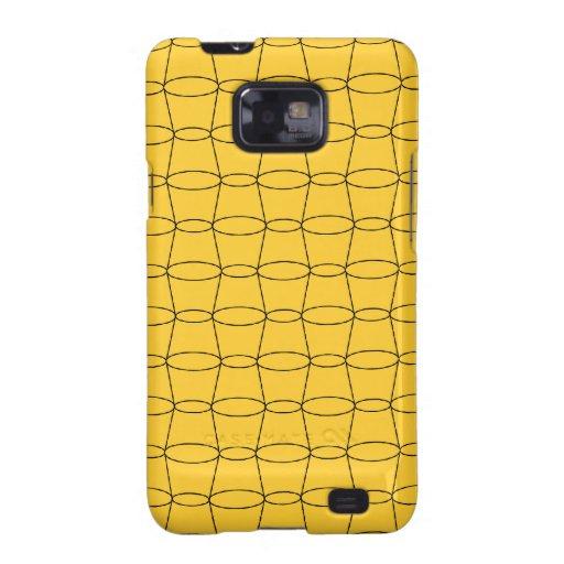 Línea arte - TAZAS - negro en amarillo Samsung Galaxy S2 Carcasas