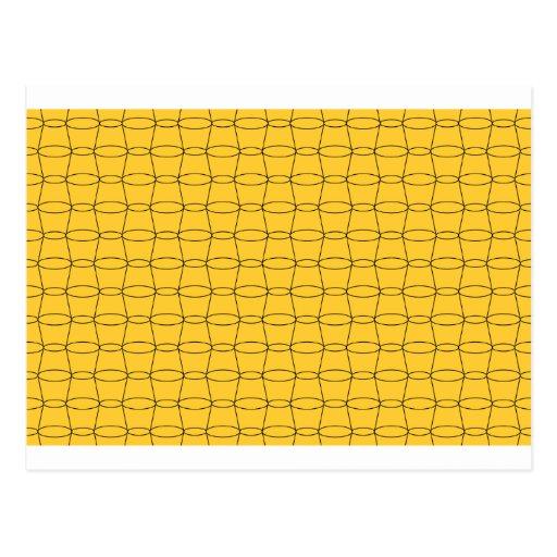 Línea arte - TAZAS - negro en amarillo Tarjetas Postales