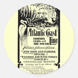 Línea atlántica ferrocarril 1934 de la costa pegatina redonda