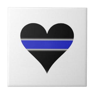 Línea azul corazón azulejo cuadrado pequeño