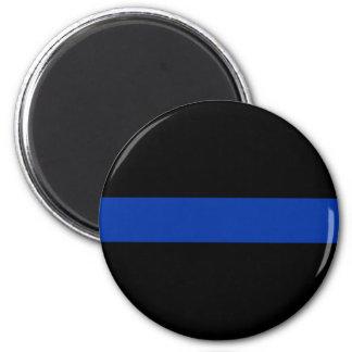 línea azul fina ley de la policía imán redondo 5 cm