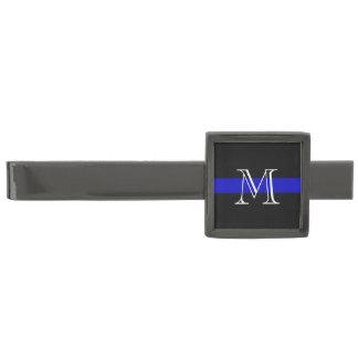 Línea azul fina monograma alfiler de corbata metalizado