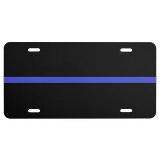 Línea azul fina placa placa de matrícula