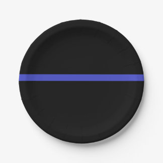 ¡Línea azul fina placas de la aplicación de ley! Plato De Papel 17,78 Cm
