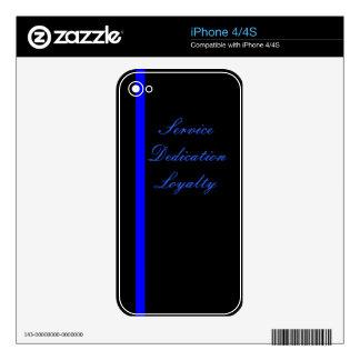 Línea azul fina servicio, esmero, caso de la lealt iPhone 4 skin