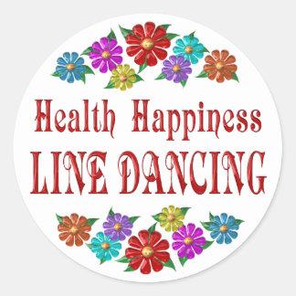 Línea baile de la felicidad de la salud pegatinas redondas