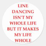 línea baile etiquetas redondas