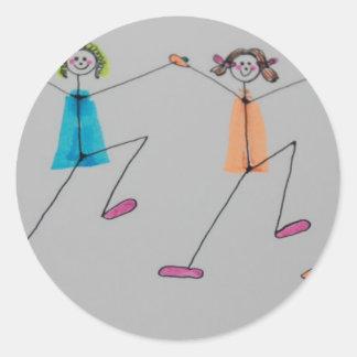 línea baile etiqueta redonda
