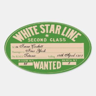 Línea blanca de la estrella (modificar para pegatina ovalada