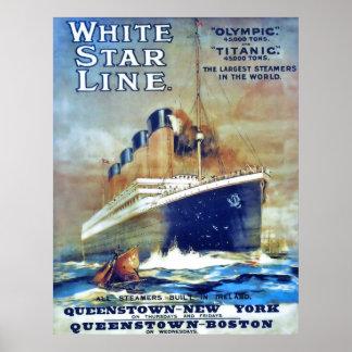 Línea blanca de la estrella posters