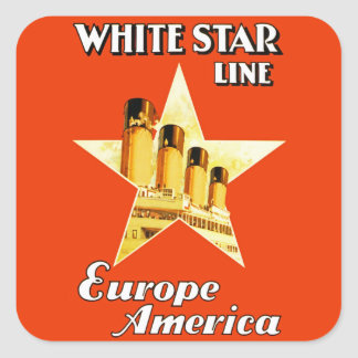 Línea blanca de la estrella calcomanías cuadradass personalizadas