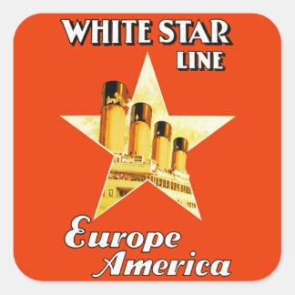 Línea blanca de la estrella pegatina cuadrada
