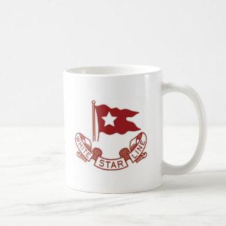 Línea blanca de la estrella tazas de café