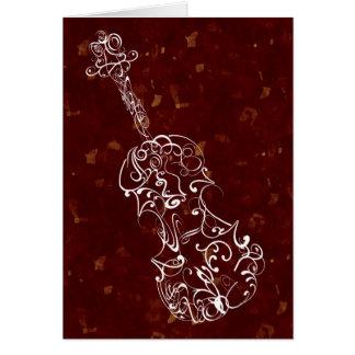 Línea blanca dibujo del violín en fondo de color tarjeta de felicitación