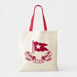 Línea blanca logotipo de la estrella bolsas lienzo