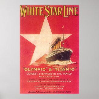 Línea blanca titánica de la estrella póster
