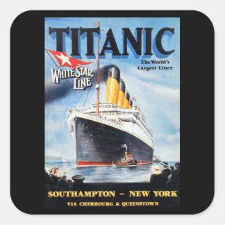 Línea blanca titánica poster de la estrella pegatina cuadrada